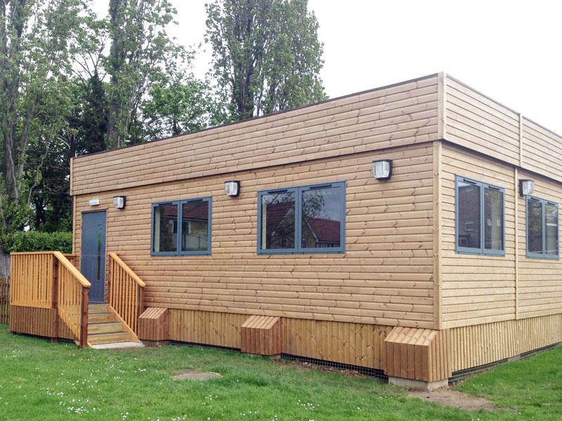 wood clad classroom